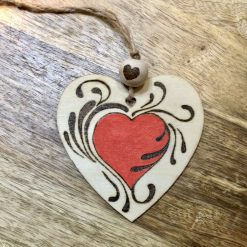 Wooden Heart Pyrography Hand Burnt
