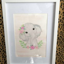 Baby elephant watercolour painting