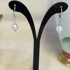 White Freshwater Pearl Earrings Silver