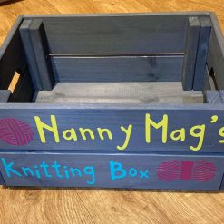 Personalised Wooden Gift Knitting Crate free P&P
