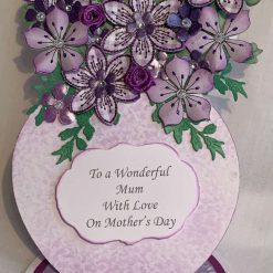 3D decoupage flowers in vase Handmade Card