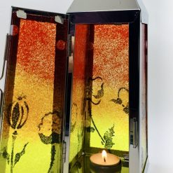 Fused Glass Sunset Lantern