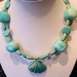 Aqua necklace with shell pendant