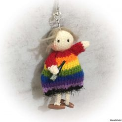 Rainbow Dolly Bag Charm with wine bottle