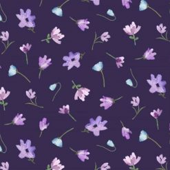 Michael Miller Dreaming of Tuscany Watercolour of Flowers Purple 100% Cotton.