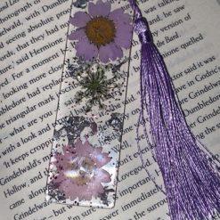 Purple Small Dried Flower Handmade Resin Bookmark / Glitter/ Foil Flakes