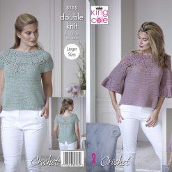 King Cole - Crochet Pattern - Bell Sleeve & Short Sleeved Tops