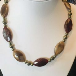 Agate and pyrite necklace