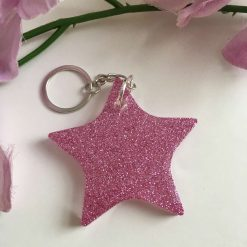 Purple Glittered Keyring