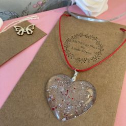 Beautiful red and silver glitter heart necklace