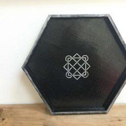 Hand painted black hexagon tray