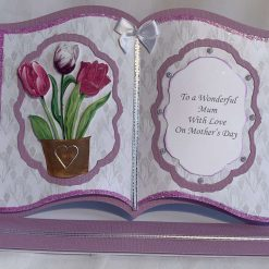 Book easel handmade card with tulips