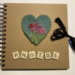 Photo Album with needle felt artwork design / free p.p (c) flower