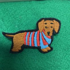 Dachshund daxie funny dog brooch. Embroidered on felt (*50p donated to Edinburgh dog/cat Home)