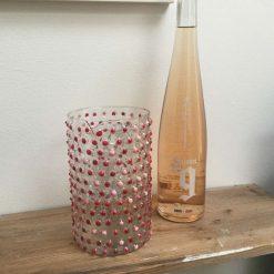 Pink hand painted glass jug/vase