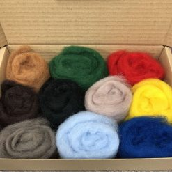 Carded Corriedale Needle felting wool - 10 colour box (selection 2)