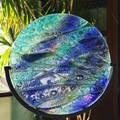 Fused Glass Coastal Panel with Stand