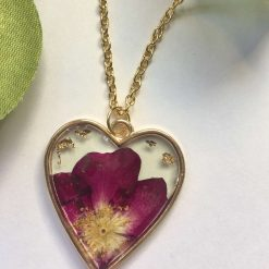 Crescent Moon Flower Pendant Necklace