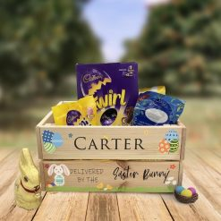 Personalised Easter wooden treat crate customised name children's gift