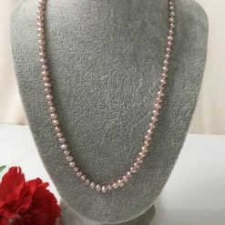 Pink Freshwater Pearl Necklace Silver