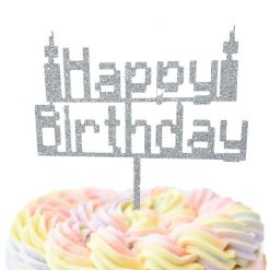 8 Bit Happy Birthday With Candles Cake Topper