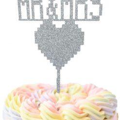 8 Bit Mr & Mrs With Heart Wedding Cake Topper, Retro, Gamer