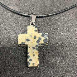 Crystal Cross Dalmatian Jasper Necklace