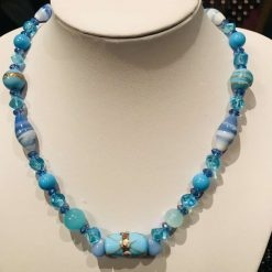 Blue mixed bead necklace