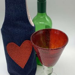 Bottle Gift Bag - Denim with Red Heart