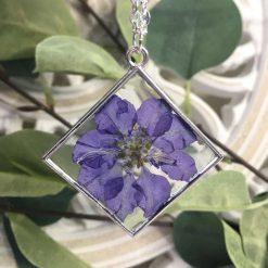 Blue Flower Pendant Necklace
