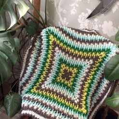 Colourful knitted  blanket