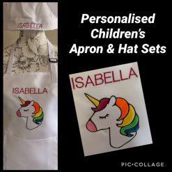 Personalised Children's Apron and Hat Set Unicorn