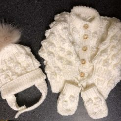 Hand knitted baby set cardigan, bobble hat and mittens 0-6 months - oyster white