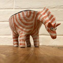 Handmade Ceramic ZEBRA Planter Red
