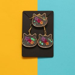 Cat necklace and earrings