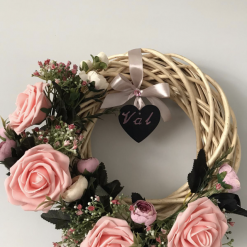Pink Roses and Peonies Wicker Wreath