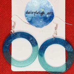 Large circle earrings blue and turquoise
