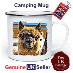 Alpaca Mug 11oz Enamel Cup, Alpaca Outdoor Mug