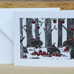 Apple Gatherers - hedgehogs - Greetings Card - hedgehog (Mother's Day, Birthdays, all occasions) by Sarah's Printing
