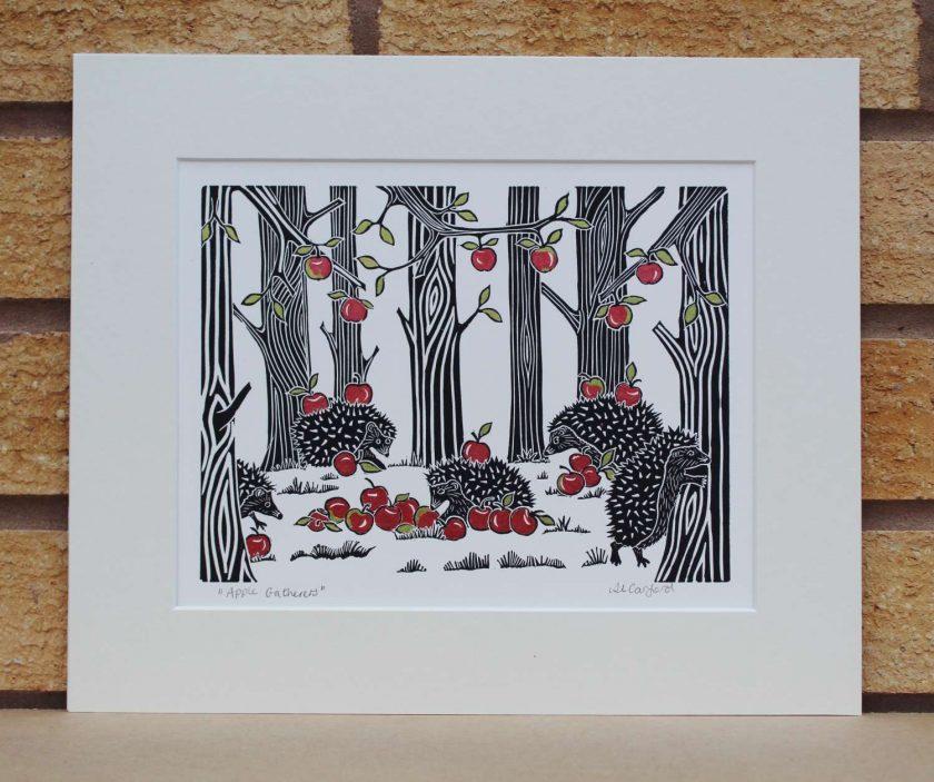 Apple Gatherers - Hedgehogs - Original Lino Print (hedgehog) by Sarah's Printing [sarahs printing]