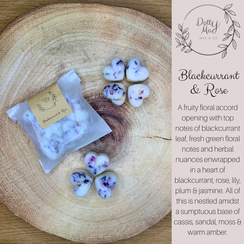 Natural Soy Wax Melts Mini Hearts (x6), Highly Fragranced, Various Scents