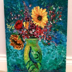 Bright and Beautiful Acrylic finger painting on artist board.  20x16 inches