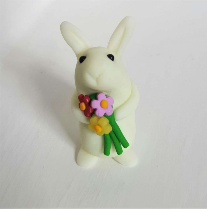 Mini bunny with flowers - glow in the dark - ornament - Valentine gift - Easter - rabbit - cake topper - birthday - thank you
