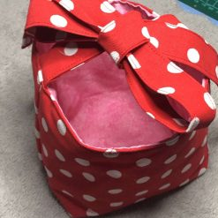 Basket - Red Polka Dots/Pink Reversible  -  Lightweight style - Easter Basket, Crafts, Mothers Day