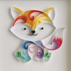 Quilled Rainbow Baby Fox