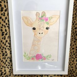 Baby giraffe painted in watercolour
