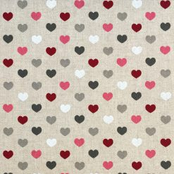 Linen Look Berry Heart Fabric - Crafts - Sewing - Upholstery
