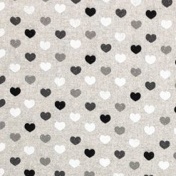 Linen Look Mono Heart Fabric - Crafts - Sewing - Upholstery