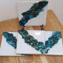 Hand painted Ceramic Coasters - Raging Sea