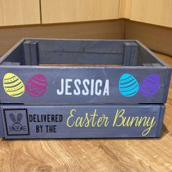 Personalised Wooden Easter Crate free P&P